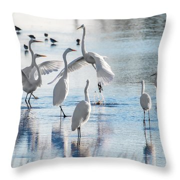 Egret Ballet 1400 Throw Pillow