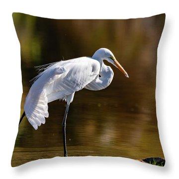 Egret Yoga Throw Pillow