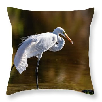 Egret Yoga Throw Pillow