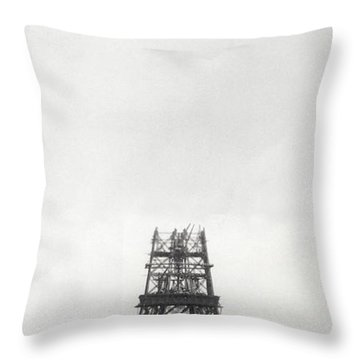 Eiffel Tower Being Built, Paris, 14th October And 14th November 1888 Throw Pillow