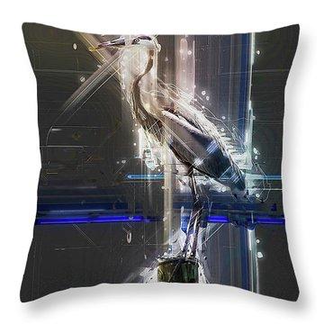 Electric Heron Throw Pillow