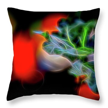 Electric Leaves Throw Pillow
