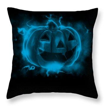 Electric Pumpkin Throw Pillow