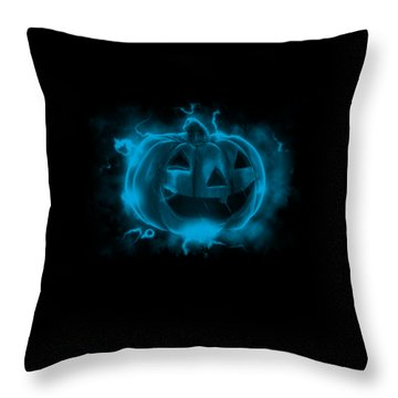 Electric Pumpkin Throw Pillow