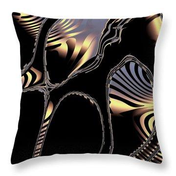 Elegant Black Fractal 1 Throw Pillow