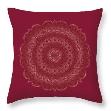 Throw Pillow featuring the painting Elegant Golden Mandala Buddhist Symbol by Georgeta Blanaru