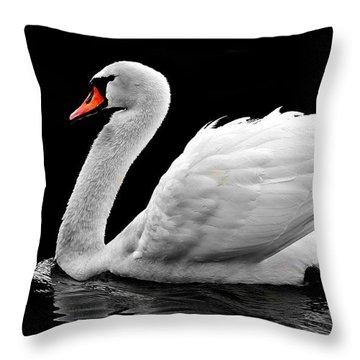 Elegant Swan Throw Pillow
