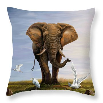 Elephant And Cattle Egrets Throw Pillow