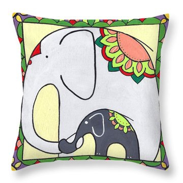 Elephant And Child 6 Throw Pillow