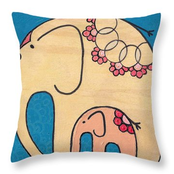 Elephant And Child On Blue Throw Pillow