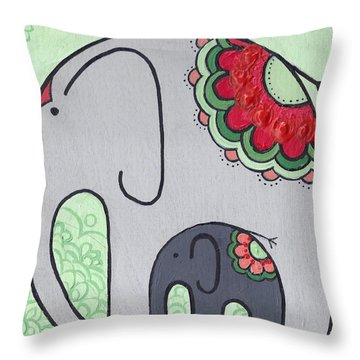 Elephant And Child On Green Throw Pillow