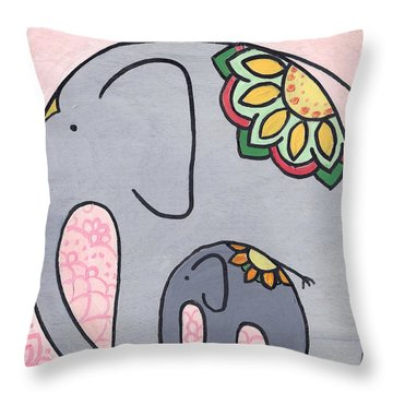 Elephant And Child On Pink Throw Pillow