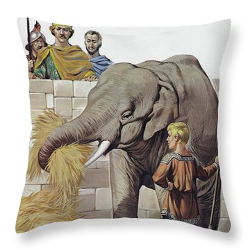 Elephant, Given To Charlemagne By Harun Al Rashid, Caliph Of Baghdad  Throw Pillow