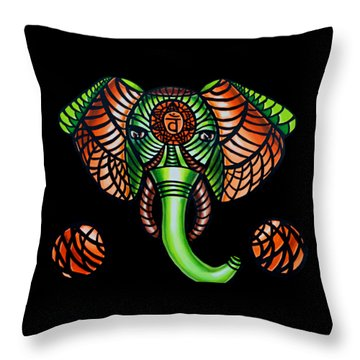 Elephant Head Painting, Sacral Chakra Art, African Tribal Animal Artwork, Zentangle Art Throw Pillow