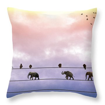 Elephants On The Wires Throw Pillow