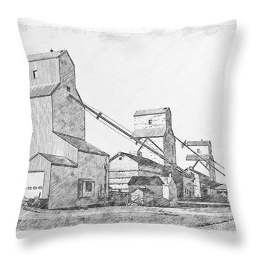 Throw Pillow featuring the drawing Elevator Row by Brad Allen Fine Art