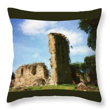 Elgin Cathedral Ruins Painting Throw Pillow