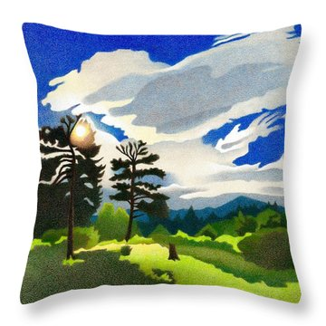 Throw Pillow featuring the drawing Elk Ridge Twilight by Dan Miller