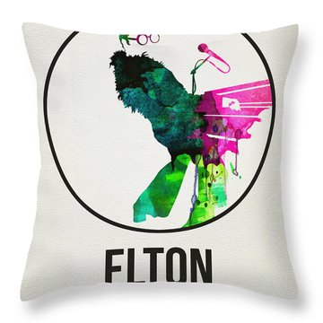 Elton Watercolor Poster Throw Pillow