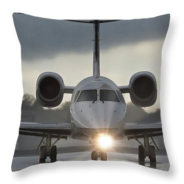 Throw Pillow featuring the photograph Embraer 145 by Guy Whiteley