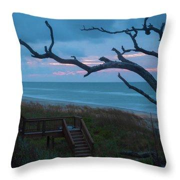 Emerald Isle Obx - Blue Hour - North Carolina Summer Beach Throw Pillow