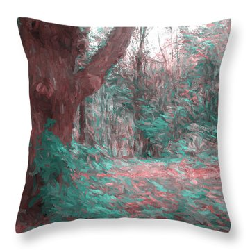 Emmaus Community Park Trail With Large Tree Throw Pillow