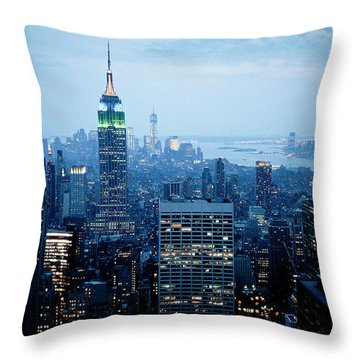 Empire In Blue Throw Pillow