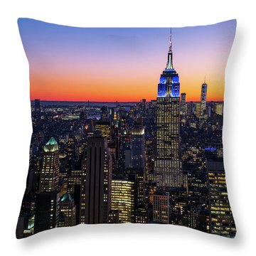 Empire State Building And Lower Manhattan At Sunset Throw Pillow