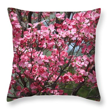 Enchanted Pink Dogwood Tree Throw Pillow