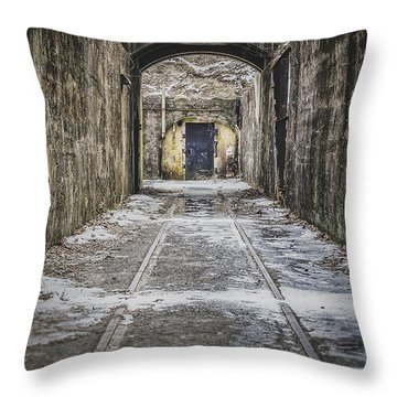 Throw Pillow featuring the photograph End Of The Tracks by Steve Stanger
