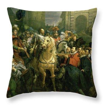 Entree D'henri Iv A Paris, 1594 Throw Pillow
