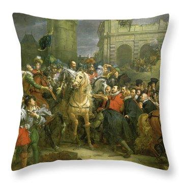 Entree D'henri Iv Dans La Ville De Paris, 1594 Throw Pillow