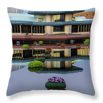 Epcot Lake Flowers Throw Pillow