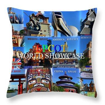 Epcot World Showcase Contries Work A Throw Pillow