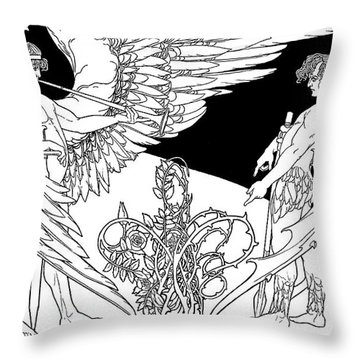 Ephraim Moses Lilien Illustration Of The Angels, Gabriel On Left And Satan On The Right Throw Pillow