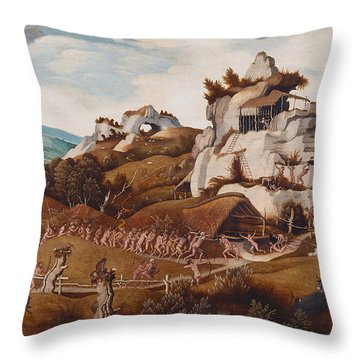 Episode From The Conquest Of America Throw Pillow