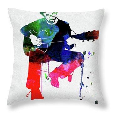 Eric Clapton Watercolor Throw Pillow