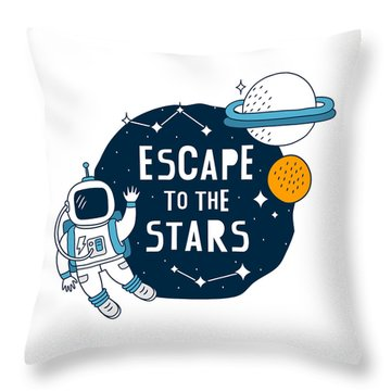 Escape To The Stars - Baby Room Nursery Art Poster Print Throw Pillow