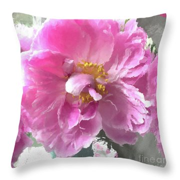 Ethereal Pink Impressionistic Watercolor Peony - Pink Watercolor Impressionistic Pink Peonies Floral Throw Pillow