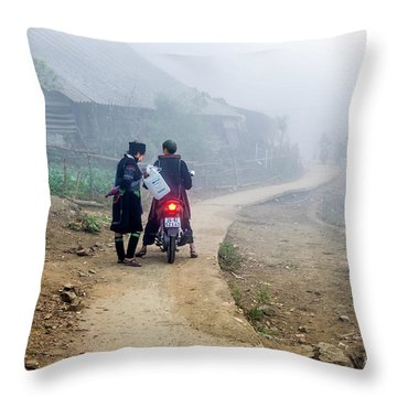 Ethnic Minority On The Road In Sapa, Vietnam Throw Pillow