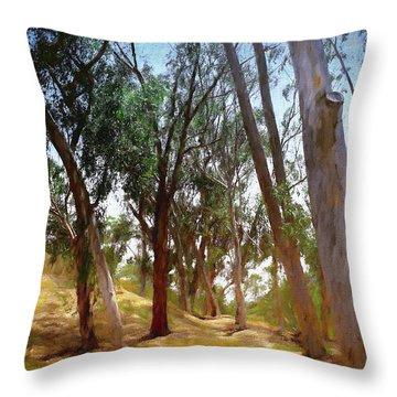 Eucalyptus Grove Oil Painting Throw Pillow