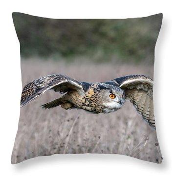 Eurasian Eagle Owl In Flight Throw Pillow