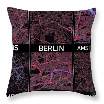 European Capital Cities Maps Throw Pillow