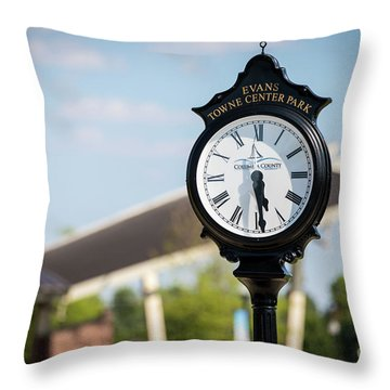 Evans Towne Center Park Clock - Evans Ga Throw Pillow