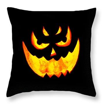 Evil Glowing Pumpkin Throw Pillow