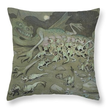 Throw Pillow featuring the drawing Evil Powers by Ivar Arosenius