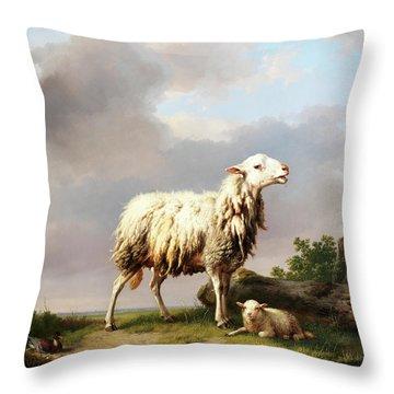 Ewe With Her New Born Lamb Throw Pillow