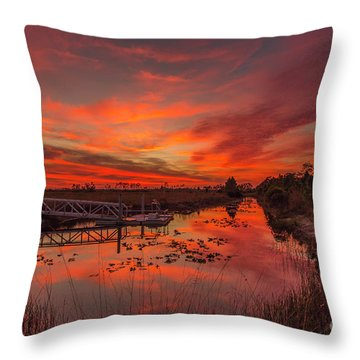 Explosive Sunset At Pine Glades Throw Pillow