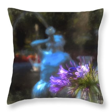 Expressive Flower And Fountain At Forsyth Park Throw Pillow