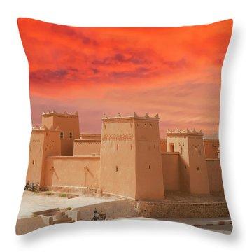 Exterior Buildings Of Kasbah Taourirt Throw Pillow